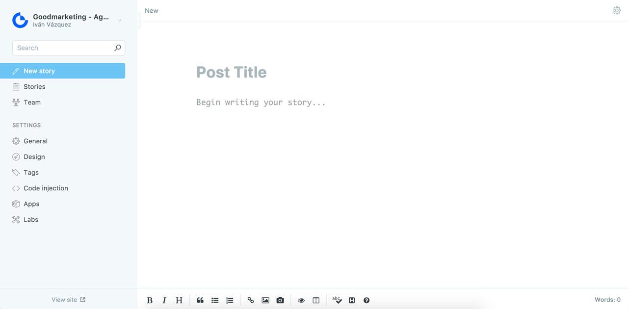 Plataforma de blogging Ghost